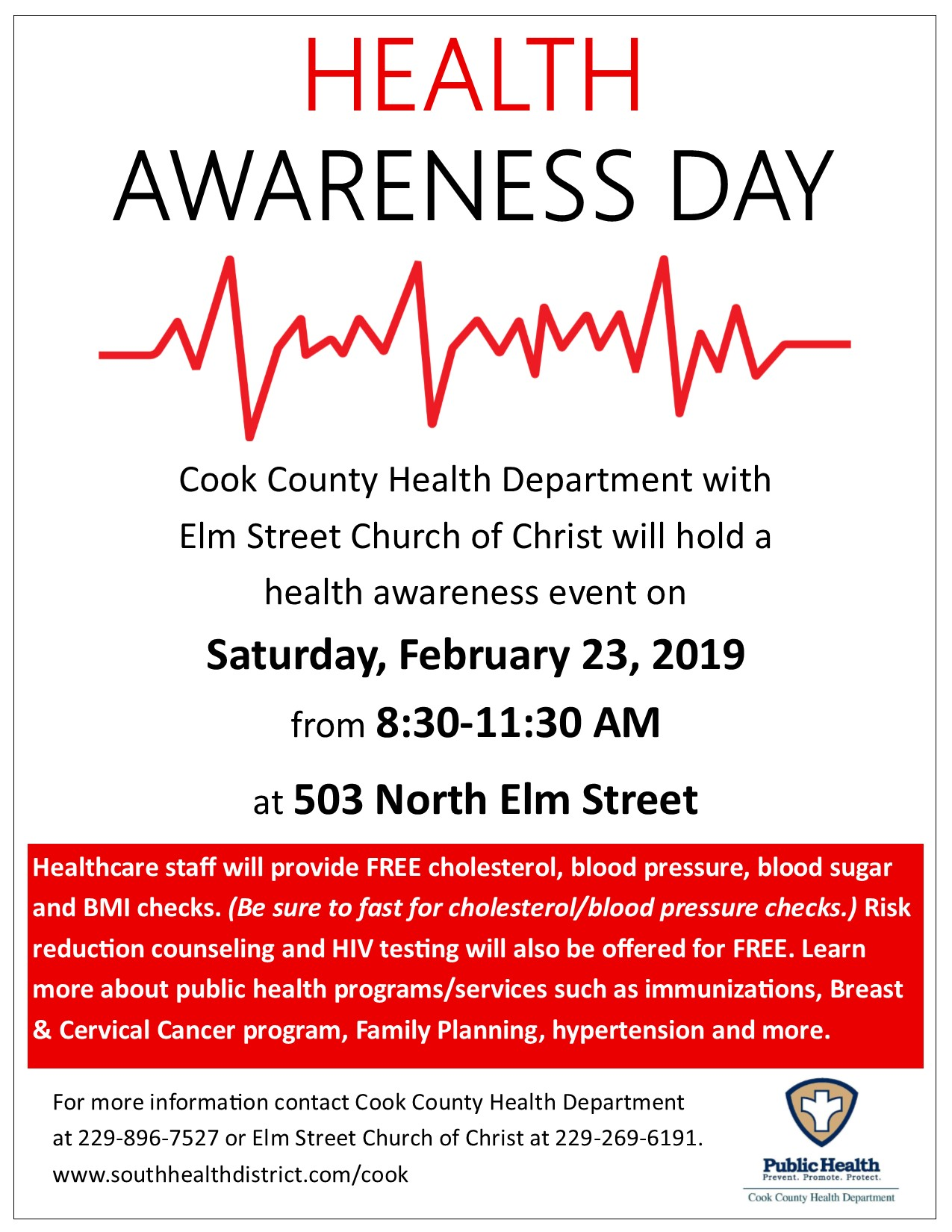 February 2019 Calendar Cook County Cook Health Awareness Day South Health District